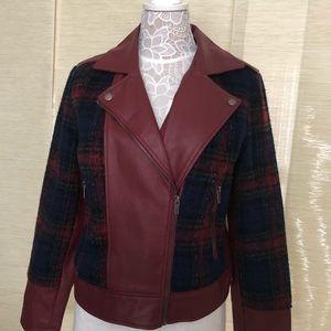 Baccini Leather like and wool jacket
